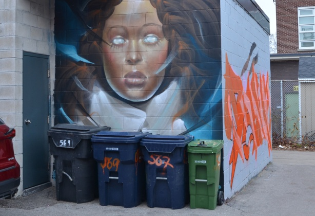 4 garbage bins lined up beside a small building with a mural of a young woman with blank eyes above the bin