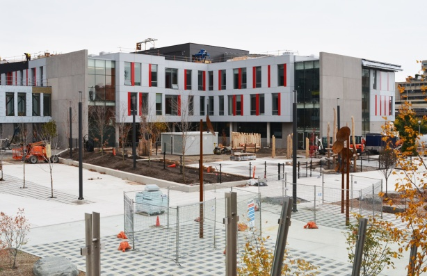 construction of new school, red and white facade