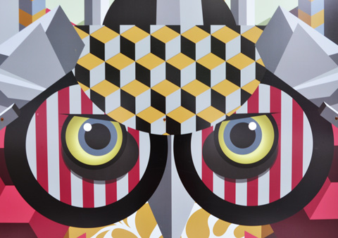 birdo painting of an owl's face on construction hoardings, geometric shapes