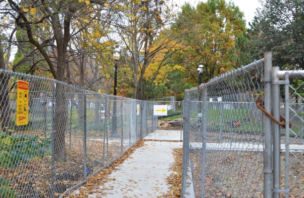 chainlink fence around parts of St. James park as new walkways are constructed