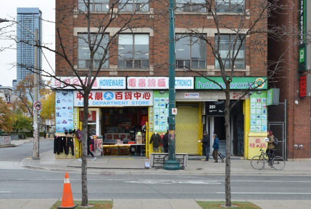 looking across Spadina to a store in Chinatown