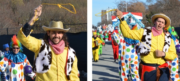 two pictures of men dressed as Woody, the cowboy from Toy Story, with small yellow lassos. Santa Claus Parade