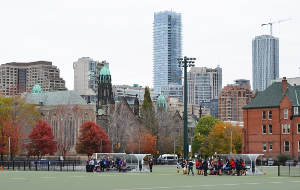 University of Toronto playing fields, from the south, with Trinity College behind and then city buildings behind that