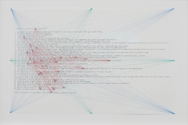 words in lines, sentences about conceptual art, overlaid with green, red, and blue lines