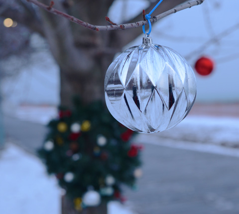 a shiny silver ball, Christmas ornament, hangs from a small tree, in the background is a red ball also hanging from the tree, as well as a green Christmas wreath attached to the trunk of the tree