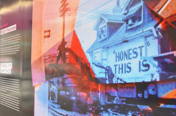hoardings on Bloor Street near Bathurst, a series of collages featuring old pictures of Honest Eds and the area, in many colours, by Jessica Thalmann