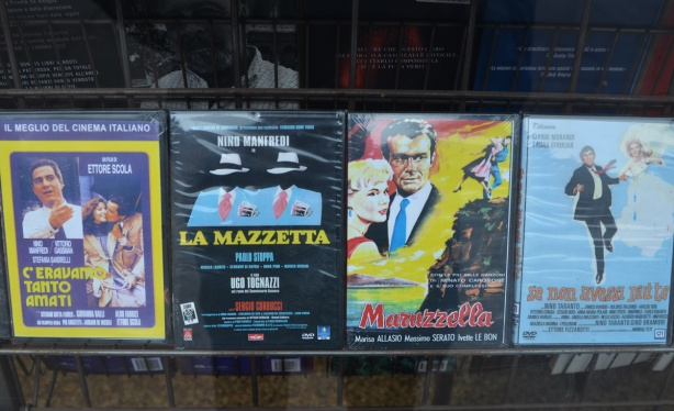 old Italian movies on DVD for sale in a store window