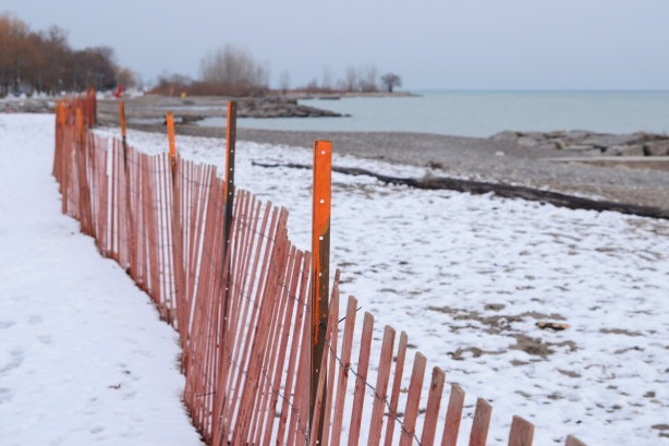 long snow fence running parallel to the shore at Woodbine beach in December, some snow, no people