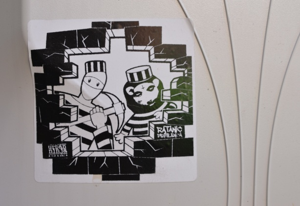 sticker, urban ninja squadron breaking out of jail with ratanic