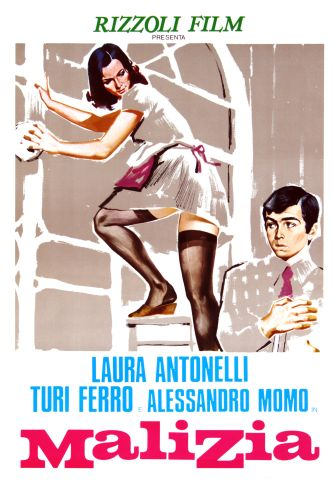 copy of an old film poster for the Italian film malizia from the 1970s