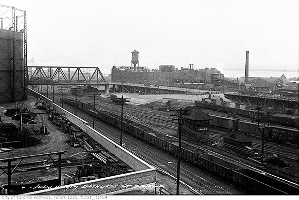 vintage black and white photo of railway tracks and bridge over Bathurst street, 1919, from Toronto City Archives