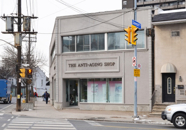 at the corner of Davenport and Belmont is the Anti Aging Shop