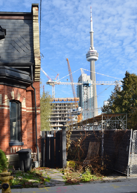 the CN tower as seen through a vacant lot on Draper street