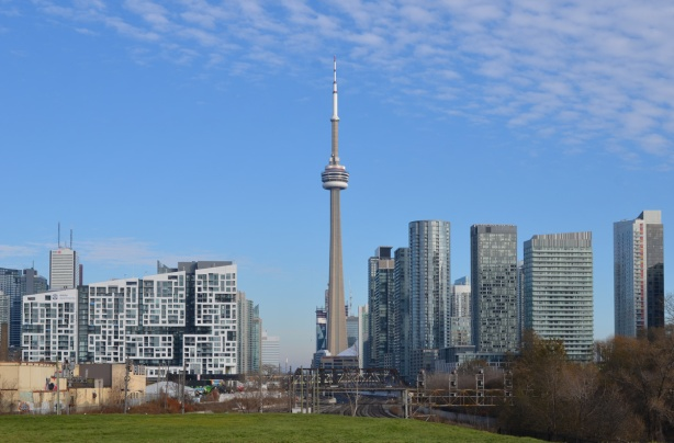 view from Garrison Crossing, in the middle, CN Tower and Toronto downtown skyline