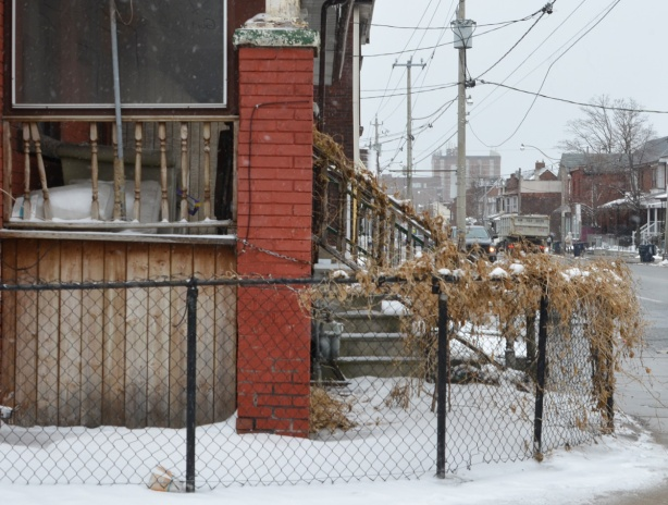 chainlink fence with dead vines on it, snow, around the front of a brick house with broken railing on the porch