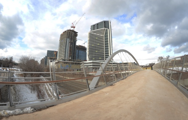 fisheye view of first garrison crossing bridge with new condos in the middle