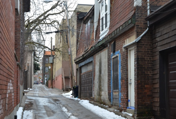 older and newer buildings in a lane in Rosedale area