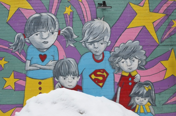 superhero kids mural