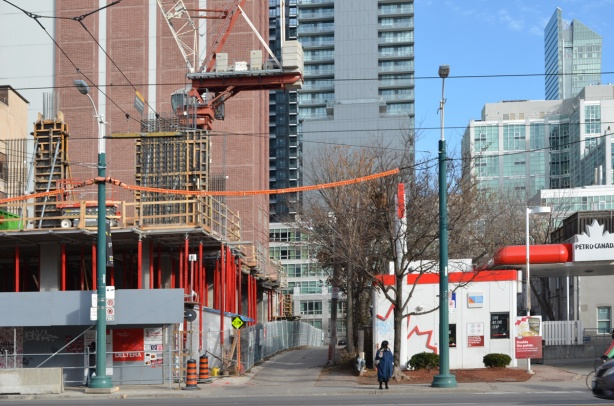 construction on Spadina south of King, beside the red and white Petro Canada gas station