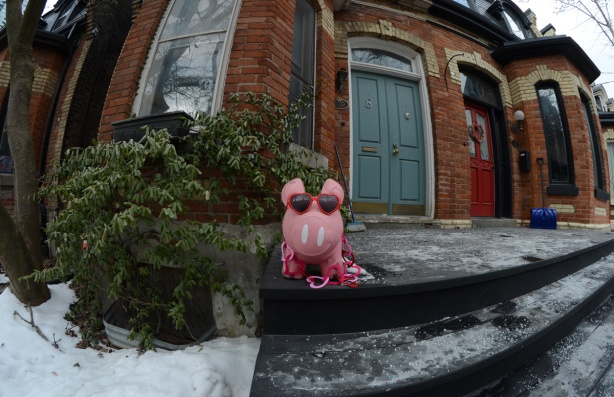 a pink plastic pig on a porch, wearing heart shaped sunglasses and a necklace of heart shapes