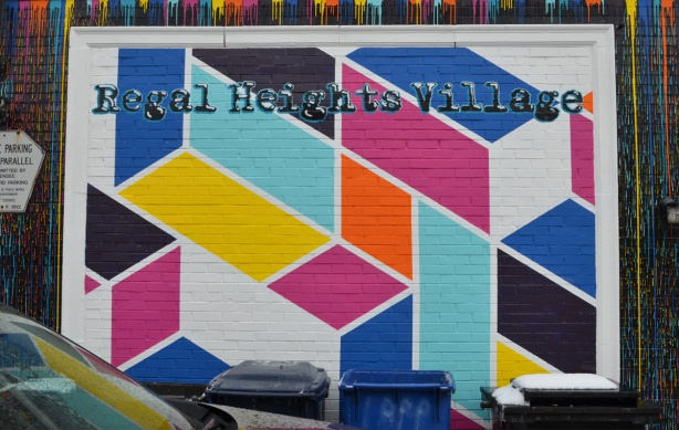 middle part of the Regal Heights mural, geometric shapes in bright colours