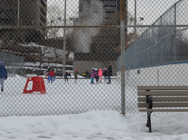 children skating on outdoor rink at Ramsden Park
