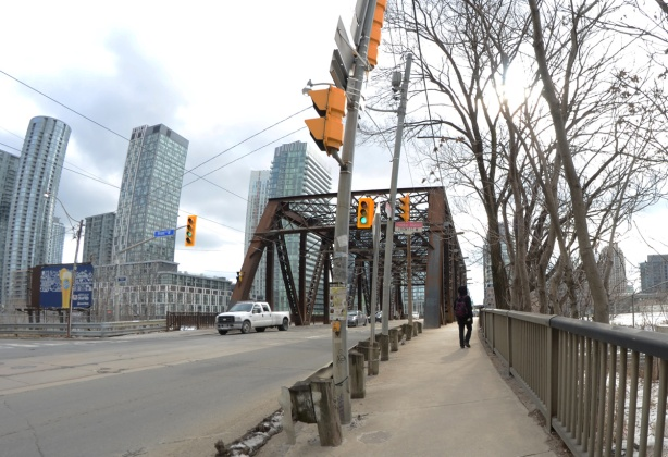 brown metal bridge, Bathurst street over the railway tracks,