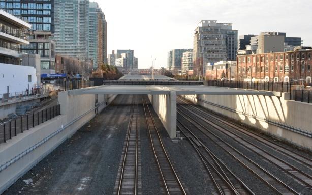 railway tracks north of Garrison crossing looking towards Strachan Ave