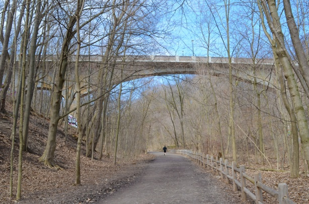 Governors Bridge, where Governors Road passes over the Beltline trail, early spring, no leaves on trees, one person jogging on the trail, path,