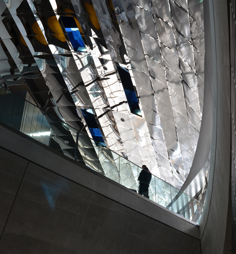 shiny reflective ceiling at TTC subway station