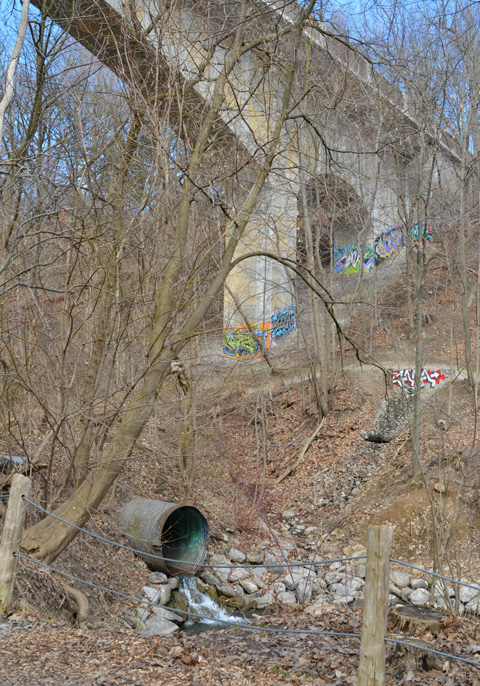 part of a bridge, concrete supports with street art on them, a culvert where the creek comes back to the surface, creek, ravine, no leaves on the trees,
