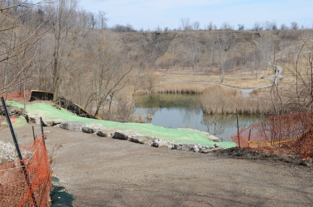 Mud Creek as it enters the brick works park and widens to a pond