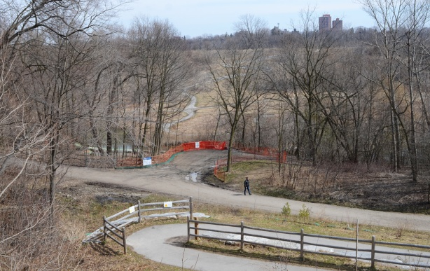 winding path down the hill from Chorley Park to the Beltline trail and Brick works park