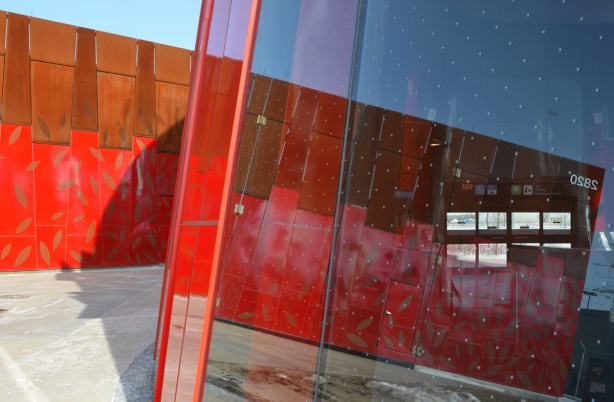 red walls, exterior and interior,