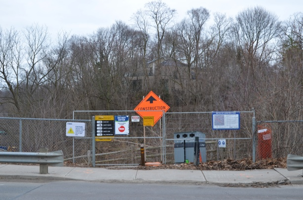 Beltline trail at Moore Ave., blocked by fence because of construction, no entry signs,