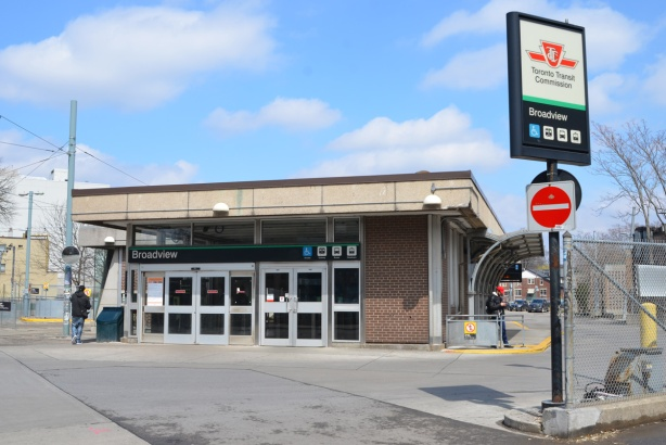 Broadview subway station, west side,
