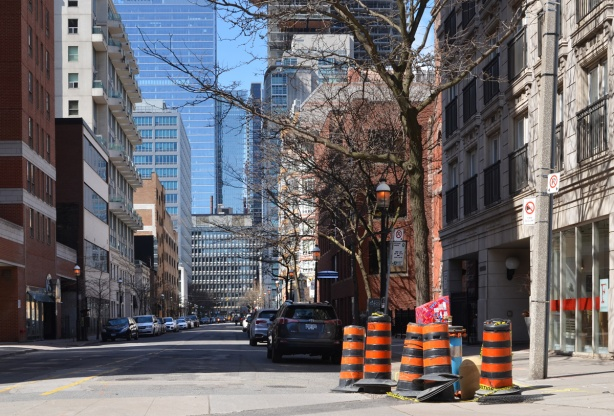 street, downtown Toronto, with traffic cones