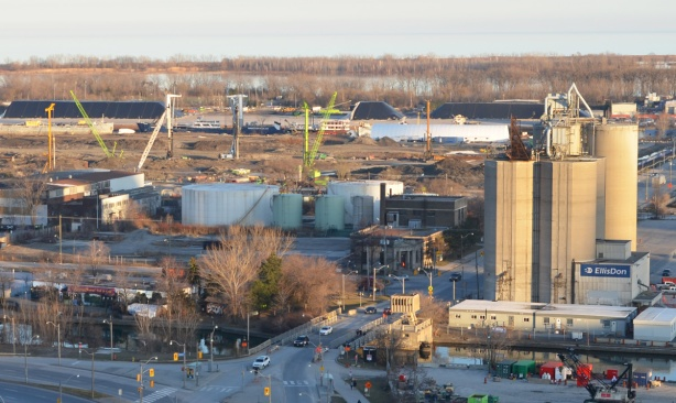 view of portlands includingLafarge silos, gas tanks, and construction