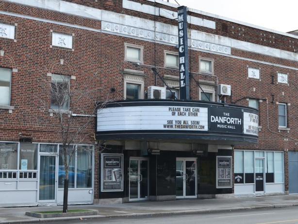 front of Danforth Music Hall on the Danforth