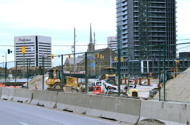 construction on Eglinton at Don Mills, Mormon church in the picture - Church of Latter Day Saints