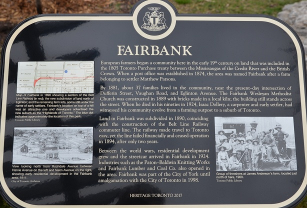 Heritage Toronto plaque for the community of Fairbank