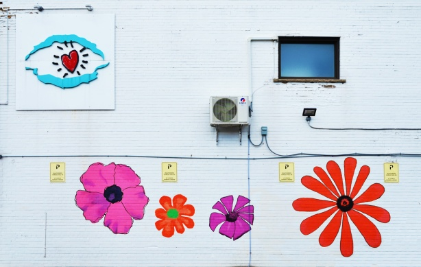 white wall, brick, painted, four large colourful flowers painted on it, 2 pink and 2 orange. Also a red heart with turquoise lines above and below, street art