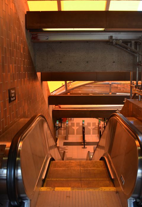 interior of Glencairn station, escalator going down, colour yellow from the glass roof that is being refurbished