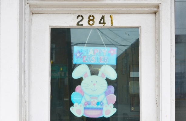 happy easter bunny sign in the window of number 2841