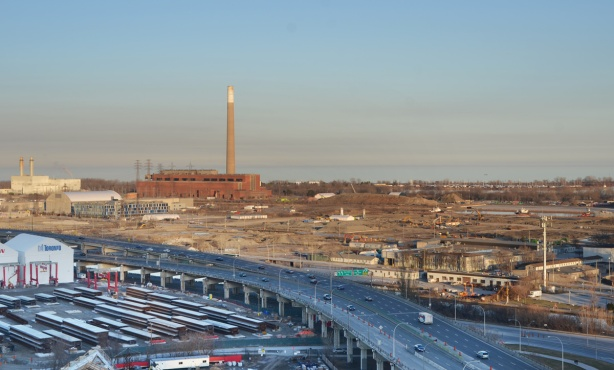 view of port lands and gardiner expressway from above including hearn generating station