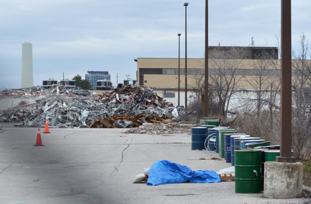 piles of metal from demolition of building