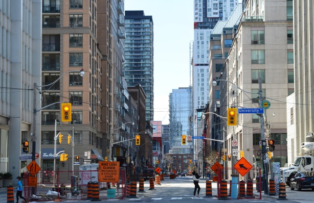 Richmond street, construction, looking west from University Ave