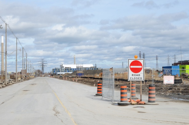 Commissioners street in port lands, with road closed sign