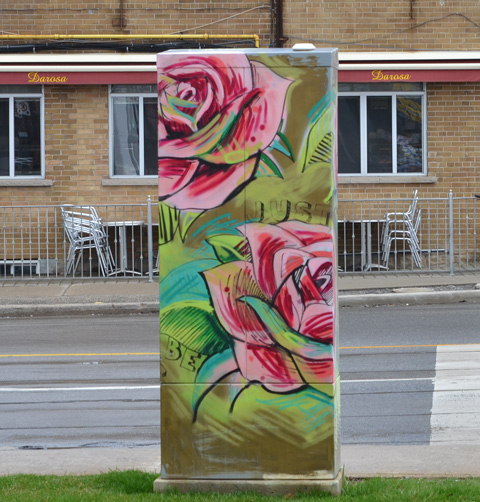 a metal sidewalk box painted with two pink roses