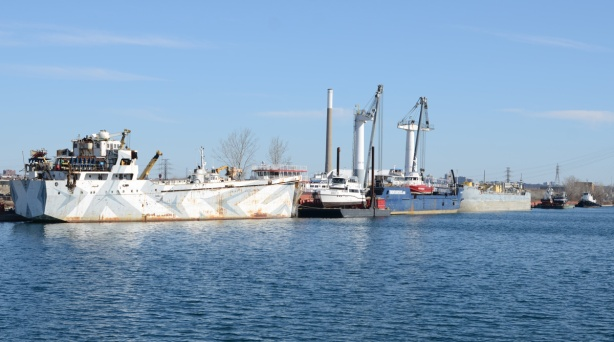 boats parked in the shipping channel